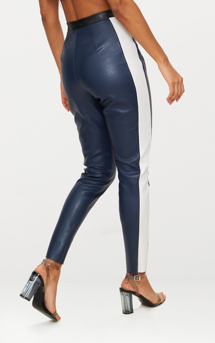 Navy Faux Leather High Waisted Panel Skinny Trouser 4