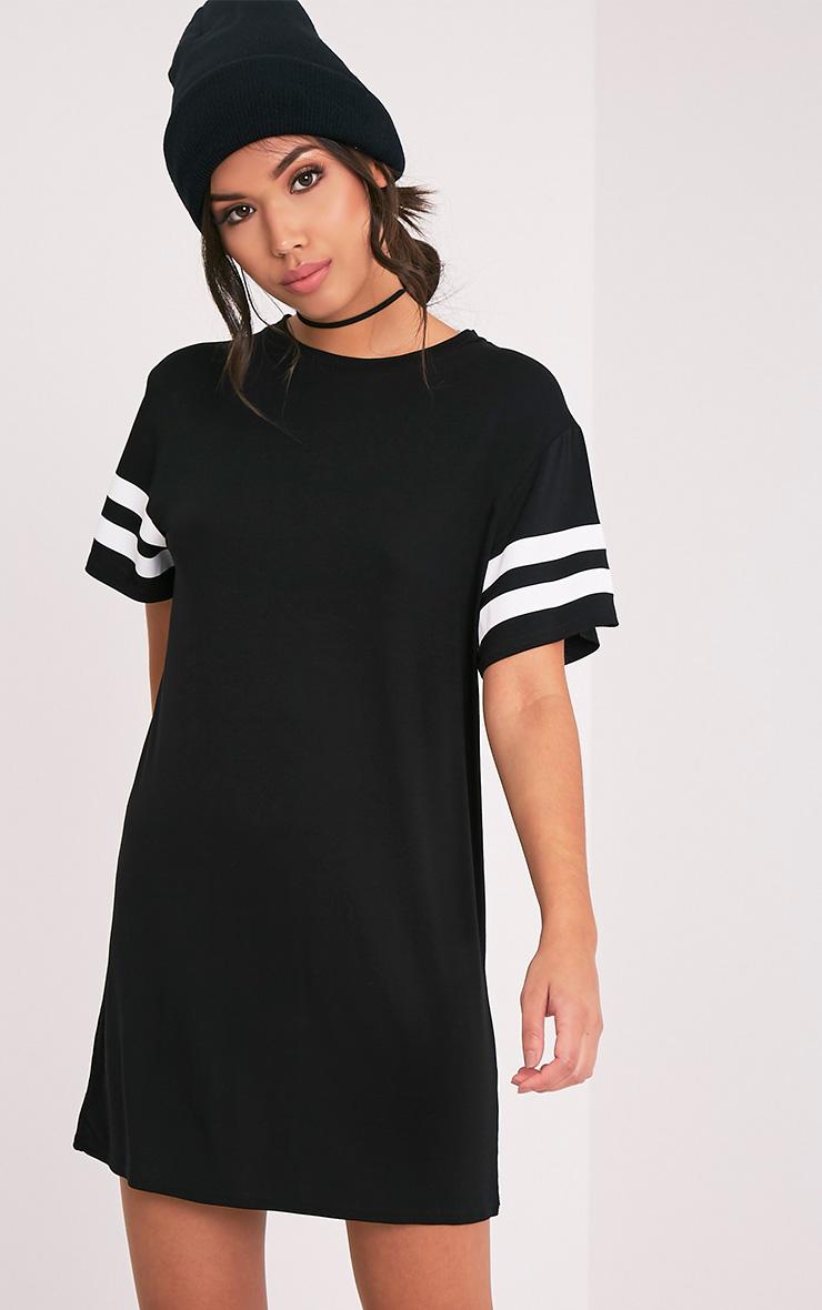 Neekha Black Striped Sleeve T Shirt Dress Prettylittlething