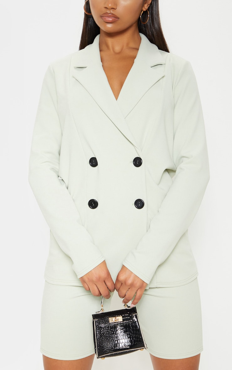 Sage Double Breasted Button Suit Jacket  5
