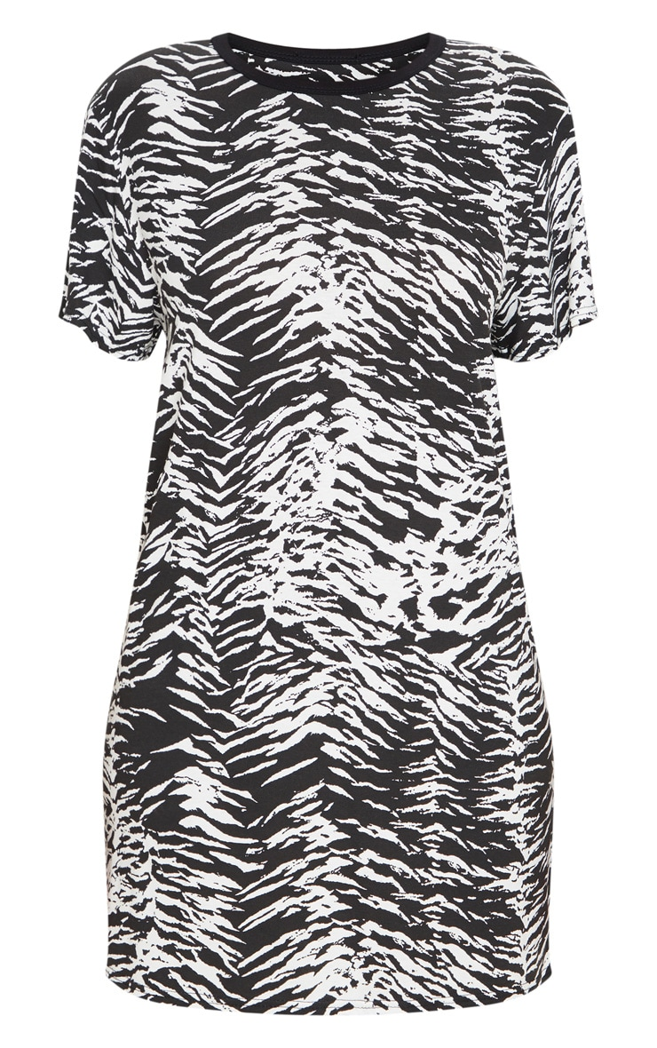 Black Zebra Print T Shirt Dress 5