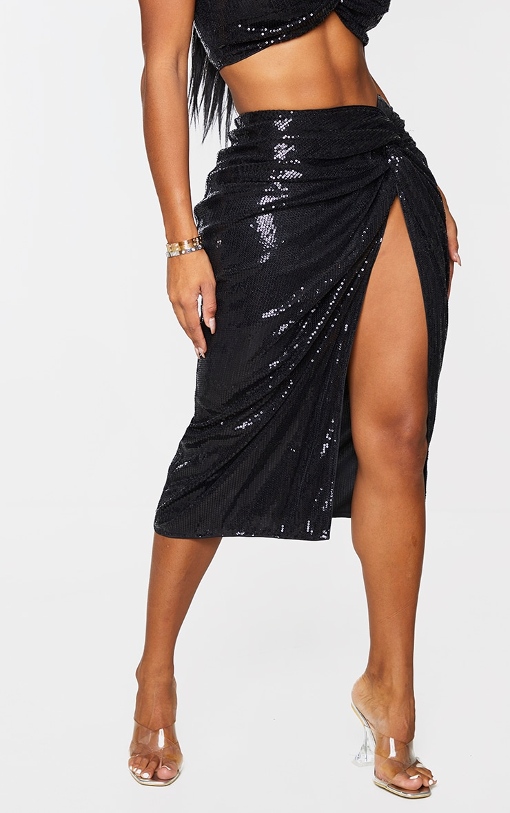 Shape Black Sequin Twist Detail Split Midi Skirt 2