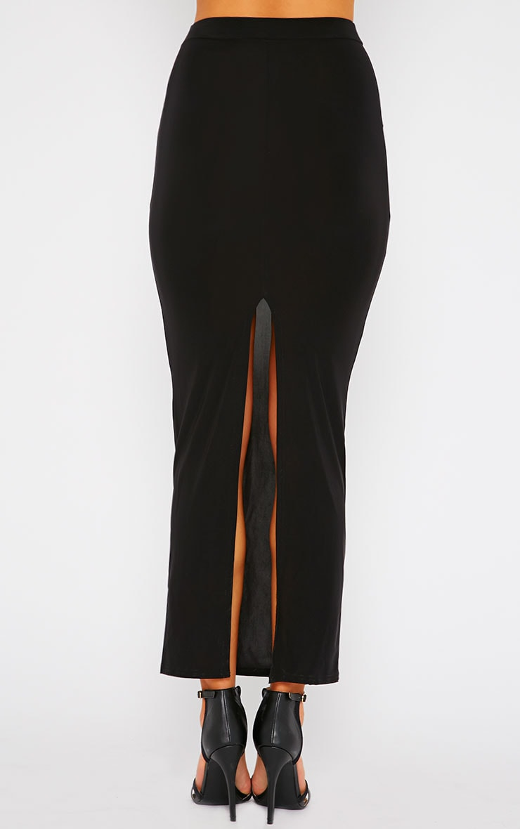 Maizie Black Slinky Split Maxi Skirt 4
