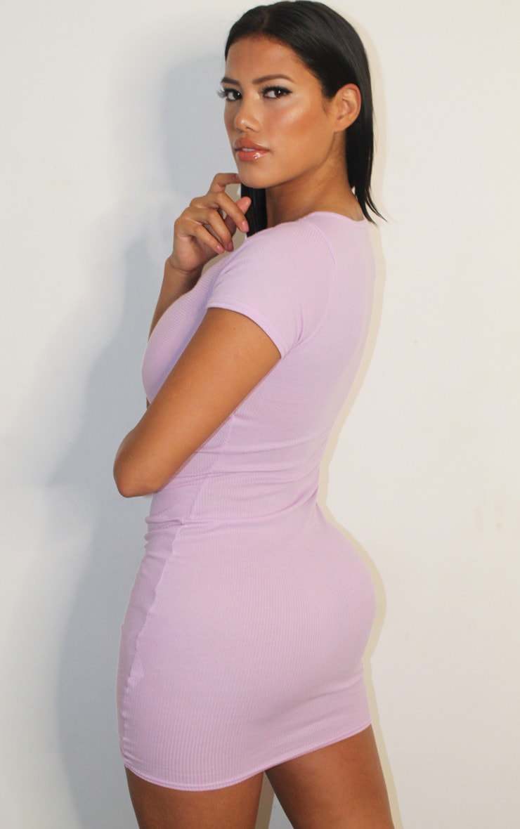 Shape Lilac Rib Ruched Cap Sleeve Bodycon Dress 2