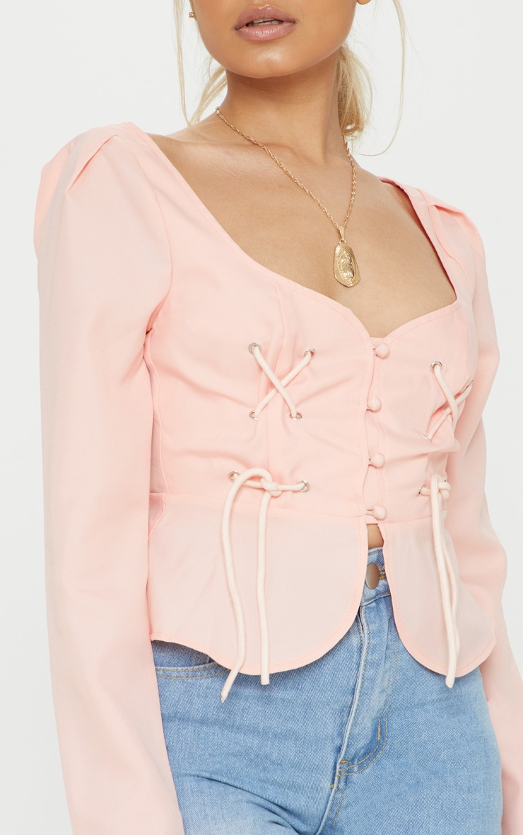 Petite Dusty Pink Long Sleeve Corset Blouse 5