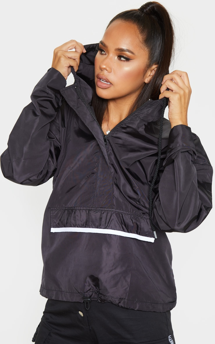 Black Shell Zip Up Hooded Windbreaker 1