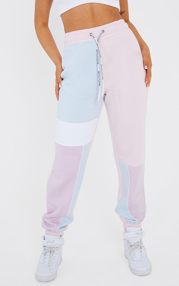 Baby Blue Contrast Panel Joggers 2