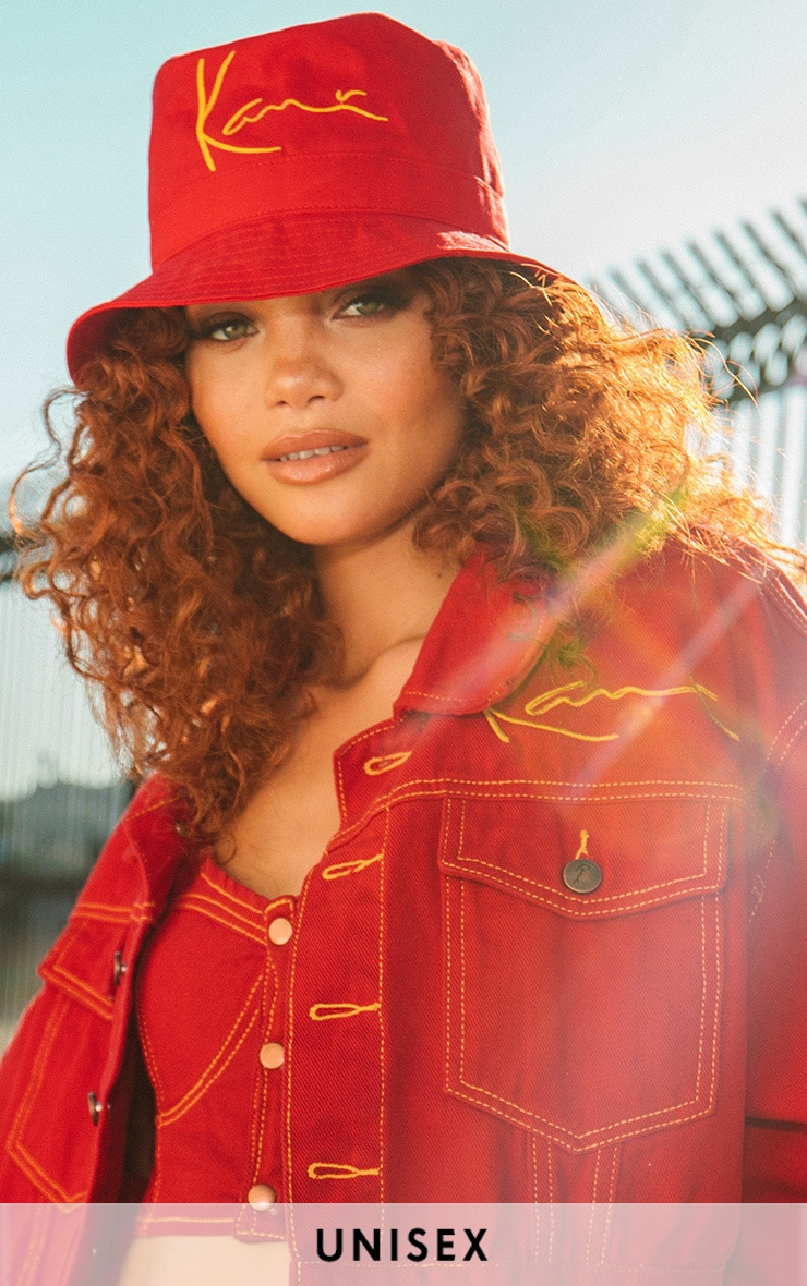 KARL KANI Red Embroidered Bucket Hat 1