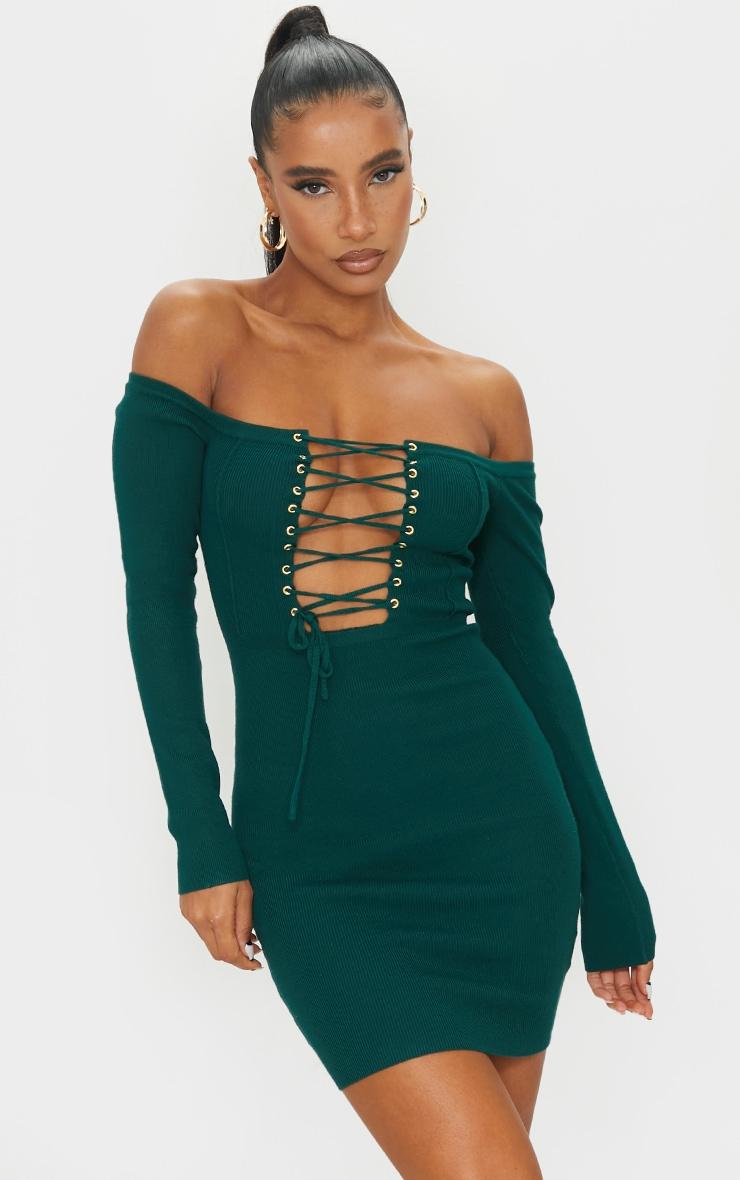 Green Lace Up Bardot Ribbed Knitted Mini Dress 1