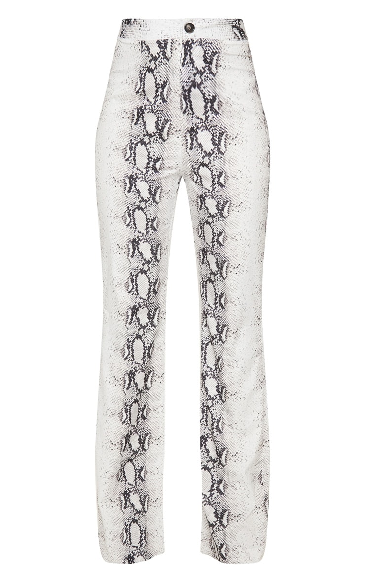 Grey Snake Printed Wide Leg Pants 3