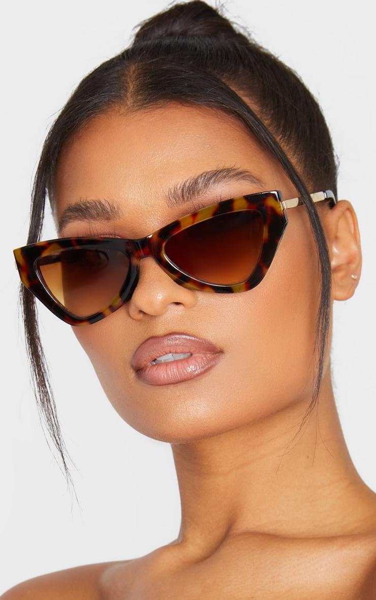Brown Tortoiseshell Cat Eye Sunglasses 1