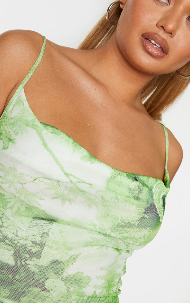 Lime Printed Cowl Neck Mesh Jumpsuit 4