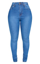 Shape Mid Wash High Waist Super Stretch Skinny Jeans 1