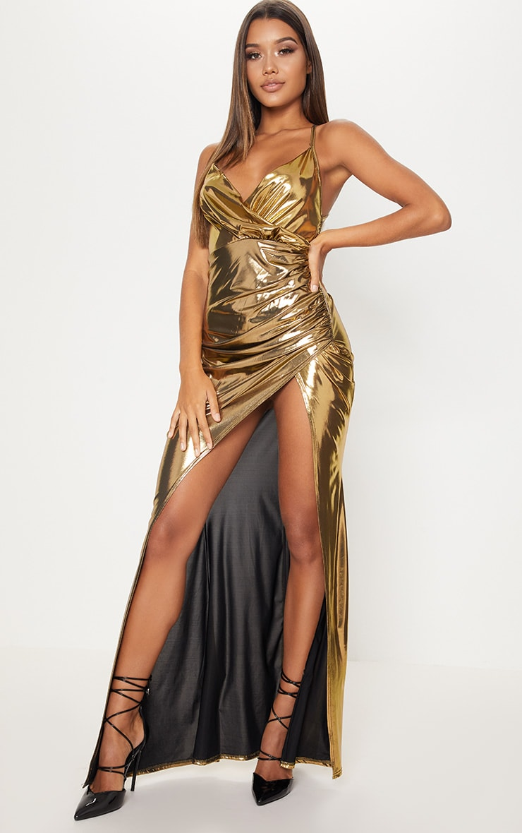 Gold Metallic Ruched Back Extreme Split Maxi Dress 2