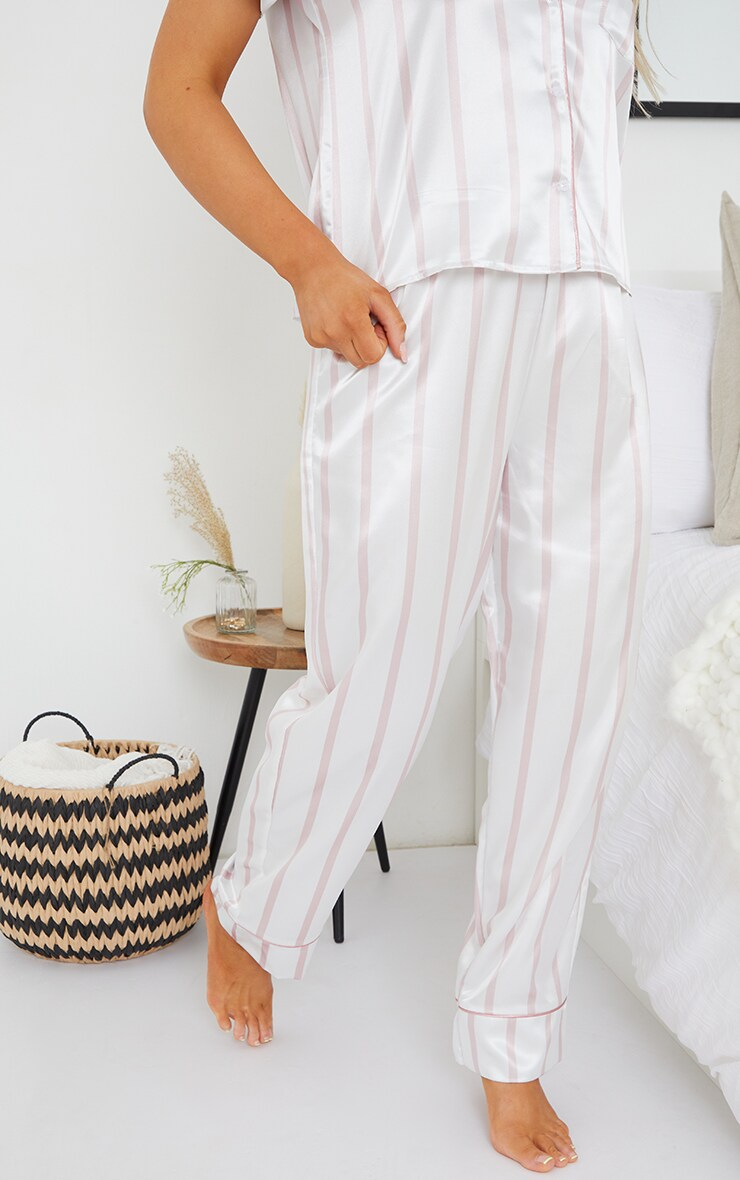 Pale Pink Stripe Mix And Match Satin PJ Pants 2