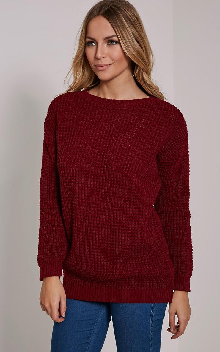Alessandra Burgundy Oversized Knitted Jumper 4