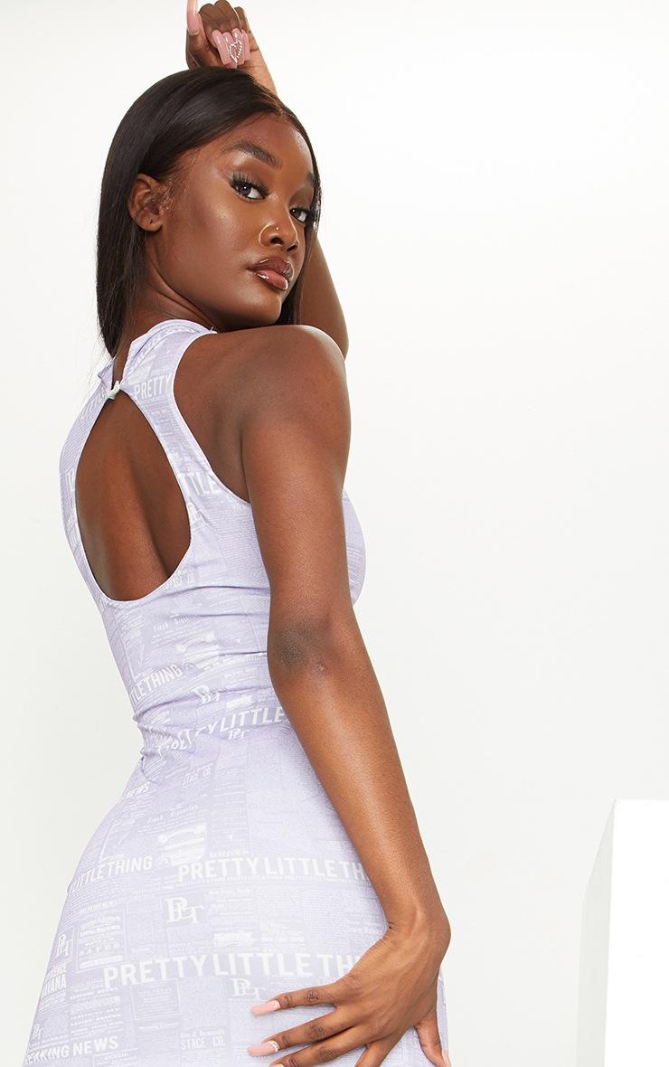 Tall Lilac Newspaper Cut Out Printed Dress 4