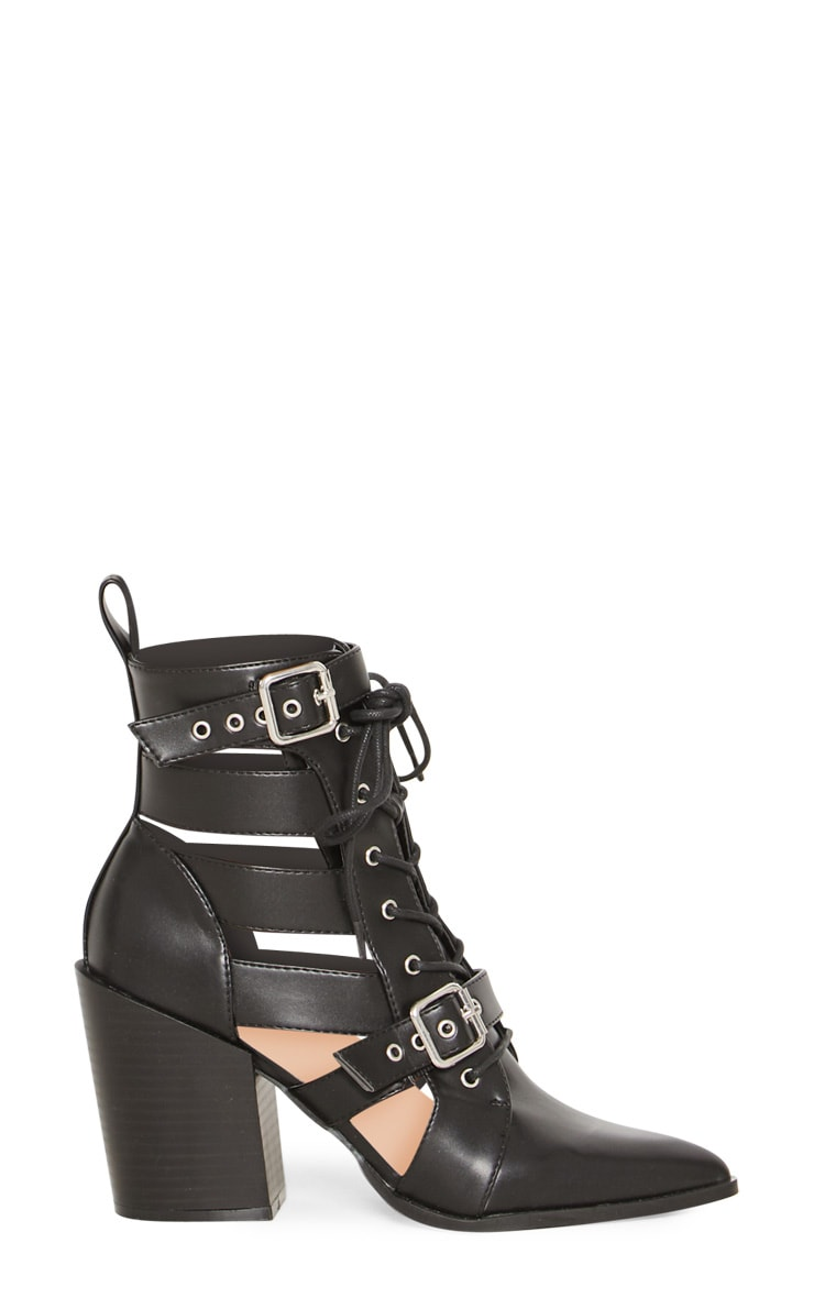 Black Cut Out Heel Boot 3