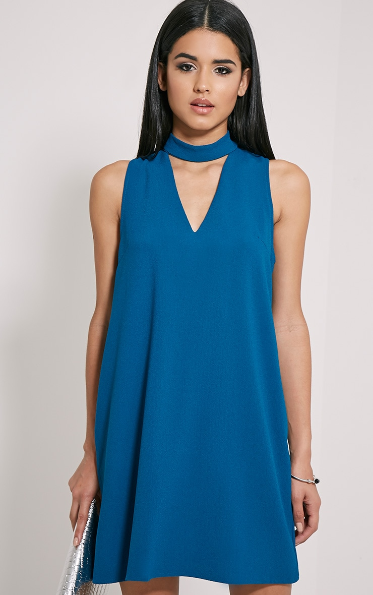 Cinder Teal Choker Detail Loose Fit Dress 1