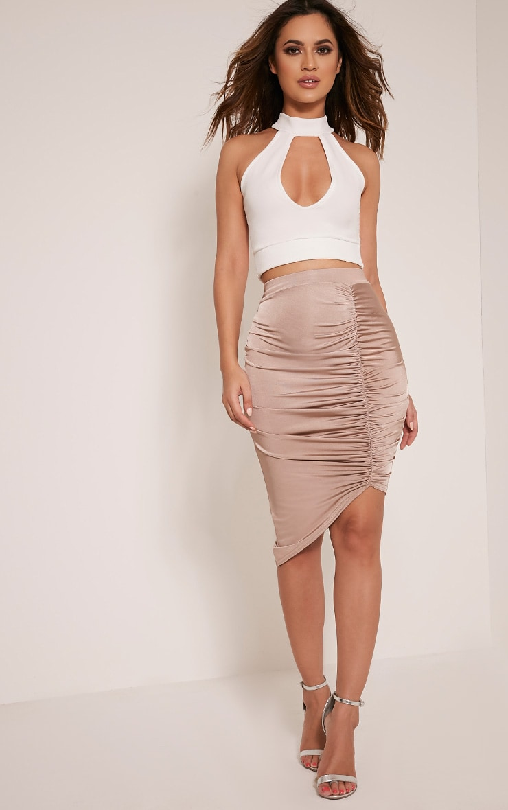 Marybeth Nude Ruched Midi Skirt 1