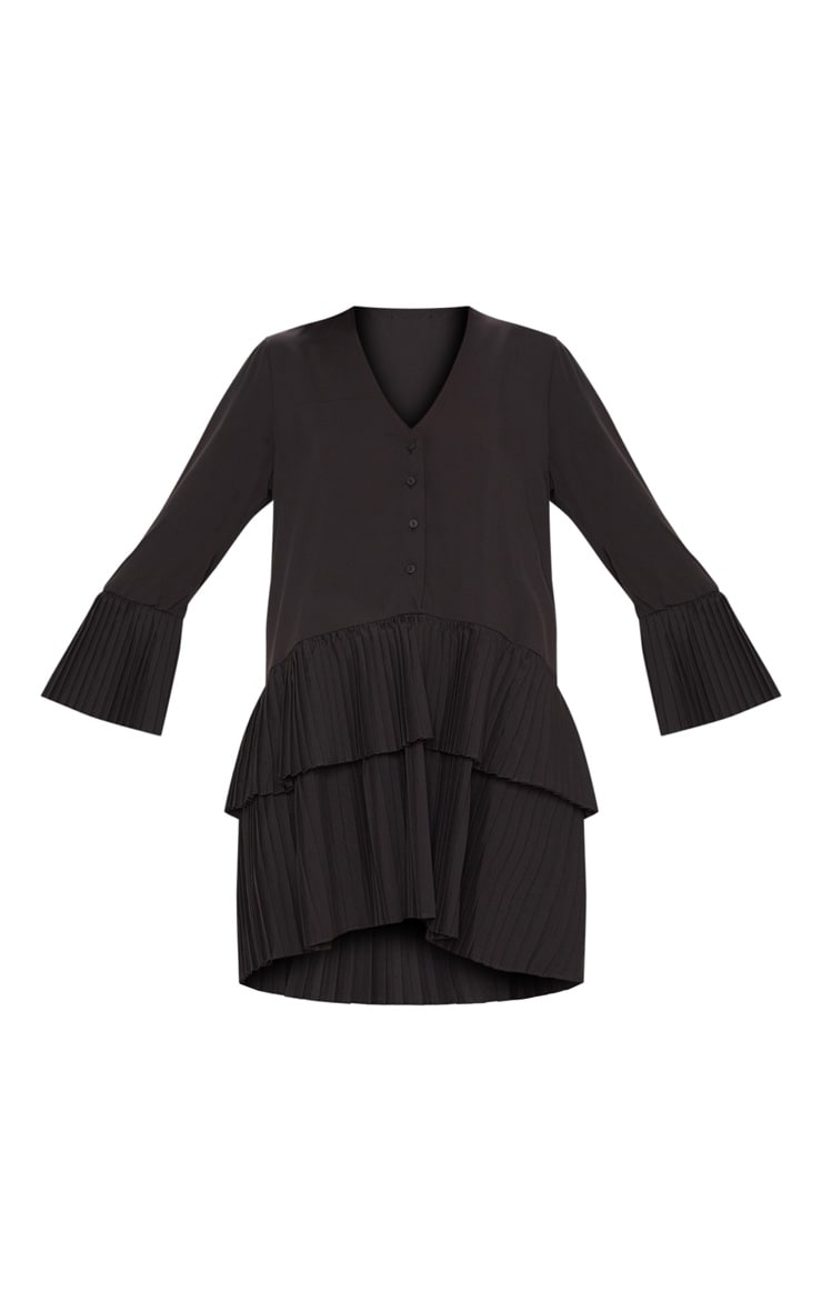 Black Button Tiered Smock Dress 3