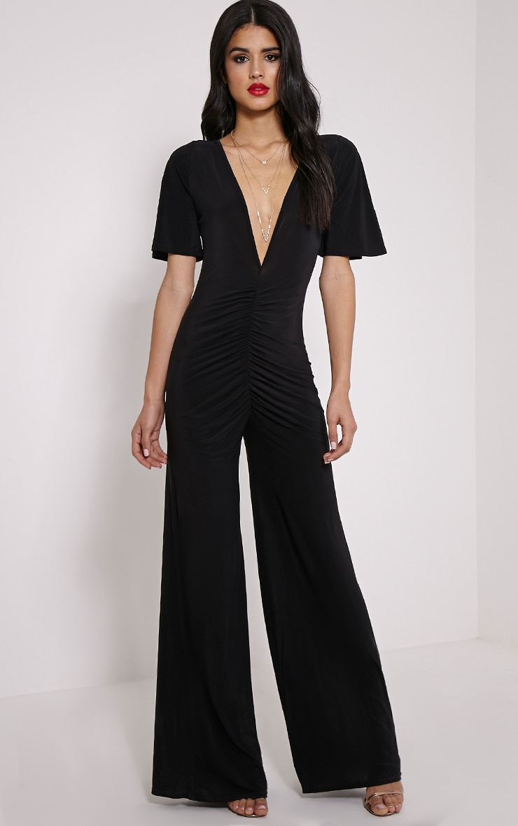 Valora Black Slinky Ruched Front Jumpsuit 1