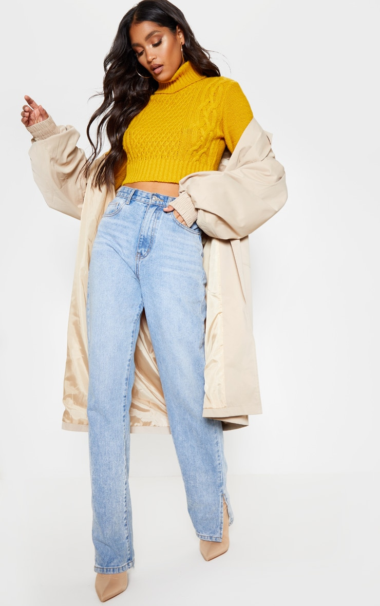 Mustard Roll Neck Fluffy Crop Cable Knit Jumper 4