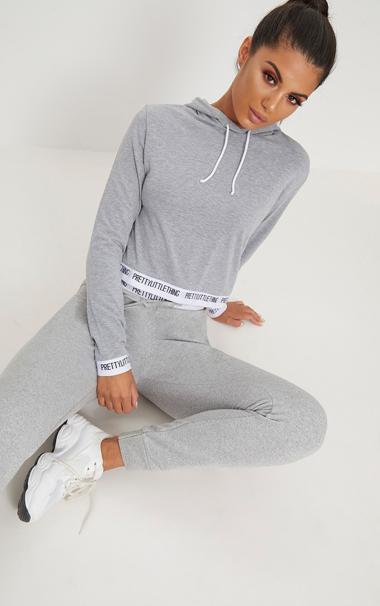 PRETTYLITTLETHING Grey Tape Crop Hoodie 4