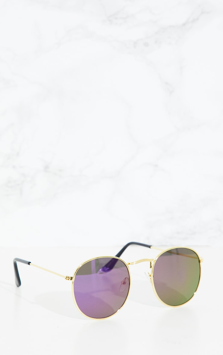 Purple Lens Metal Frame Round Retro Sunglasses 2