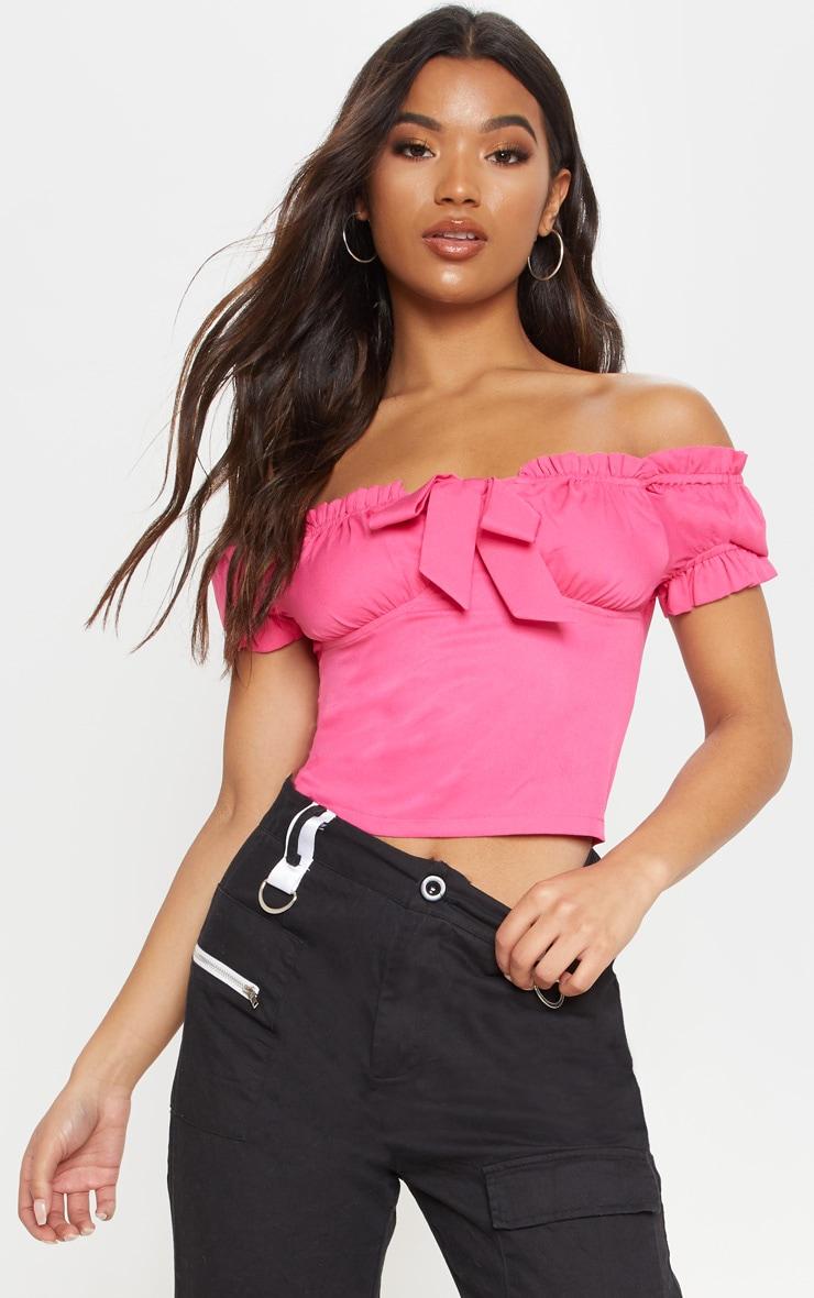 Hot Pink Frill Bardot Crop Top 1