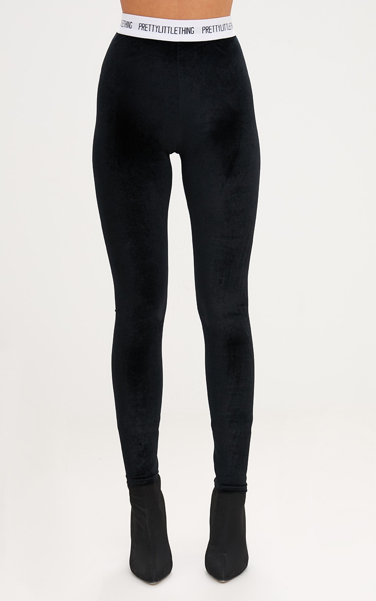 Black Prettylittlething Velvet Leggings 2