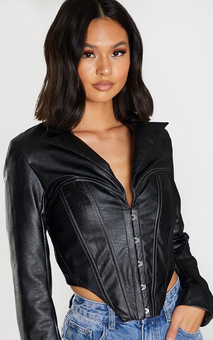 Veste en similicuir noir à partie style corset et ourlet pointu 4