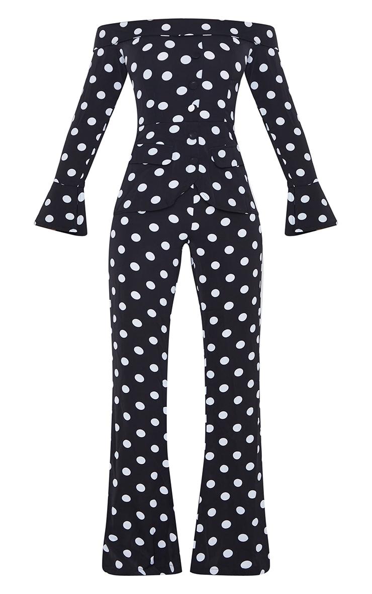Black Polka Dot Bardot Long Sleeve Jumpsuit 5