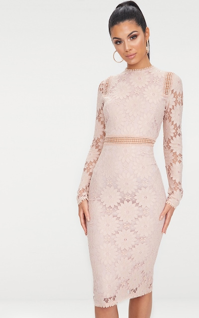 Dusty Pink Long Sleeve Lace Bodycon Dress