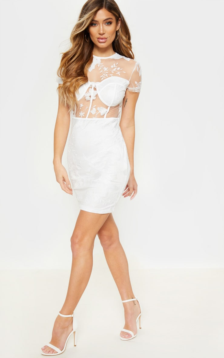 White Embroidered Cup Detail Floral Bodycon Dress 1