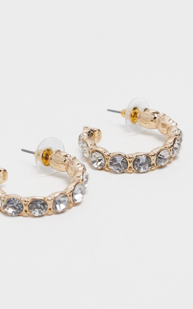 Gold Chunky Crystal Small Hoop Earrings 2