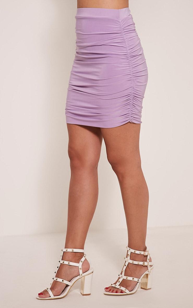 Imajane Lilac Ruched Side Mini Skirt 4