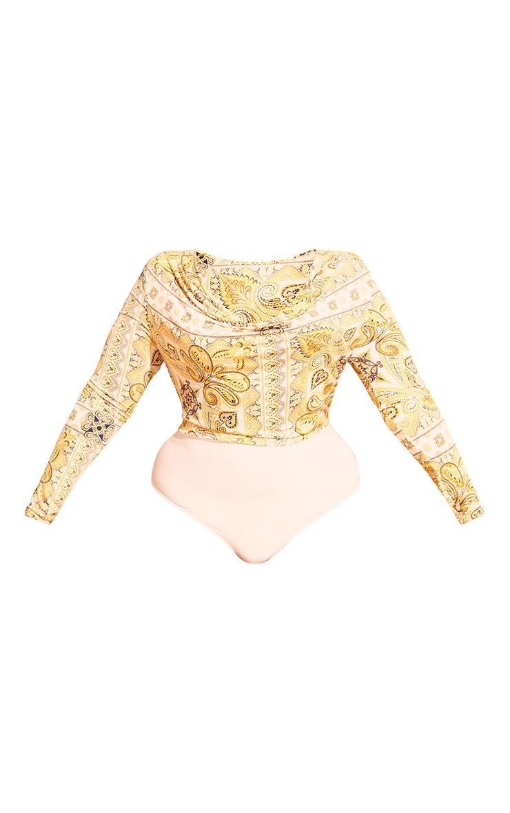 Plus Yellow Tile Print Cowl Neck Bodysuit 3