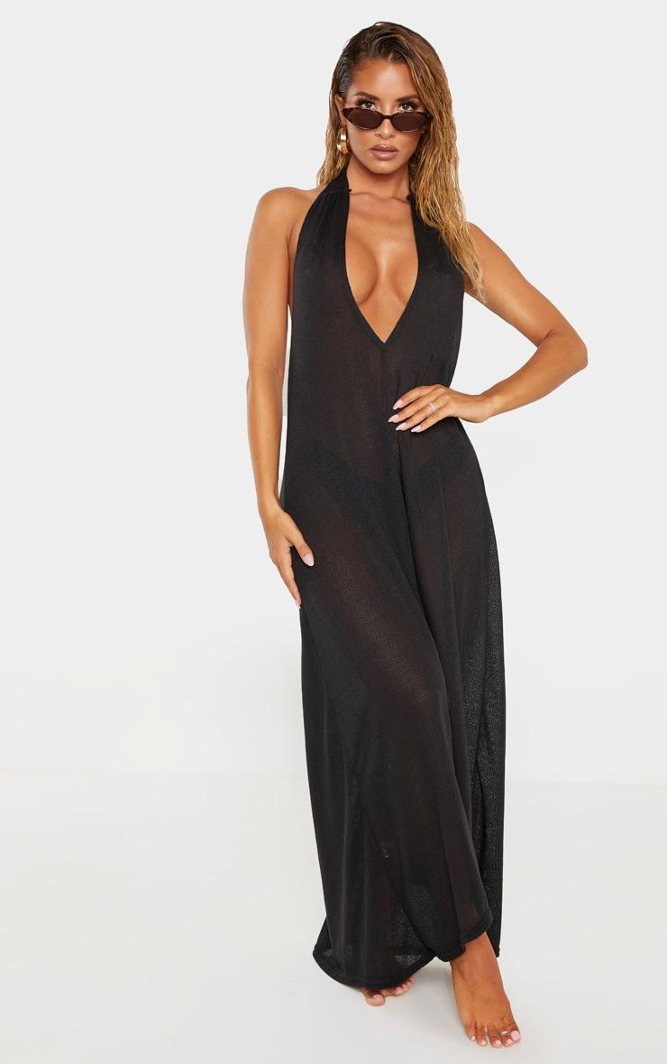 Black Lightweight Knit Halterneck Beach Dress 1
