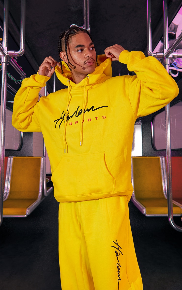 Yellow Unisex Printed Oversized Hoodie 2