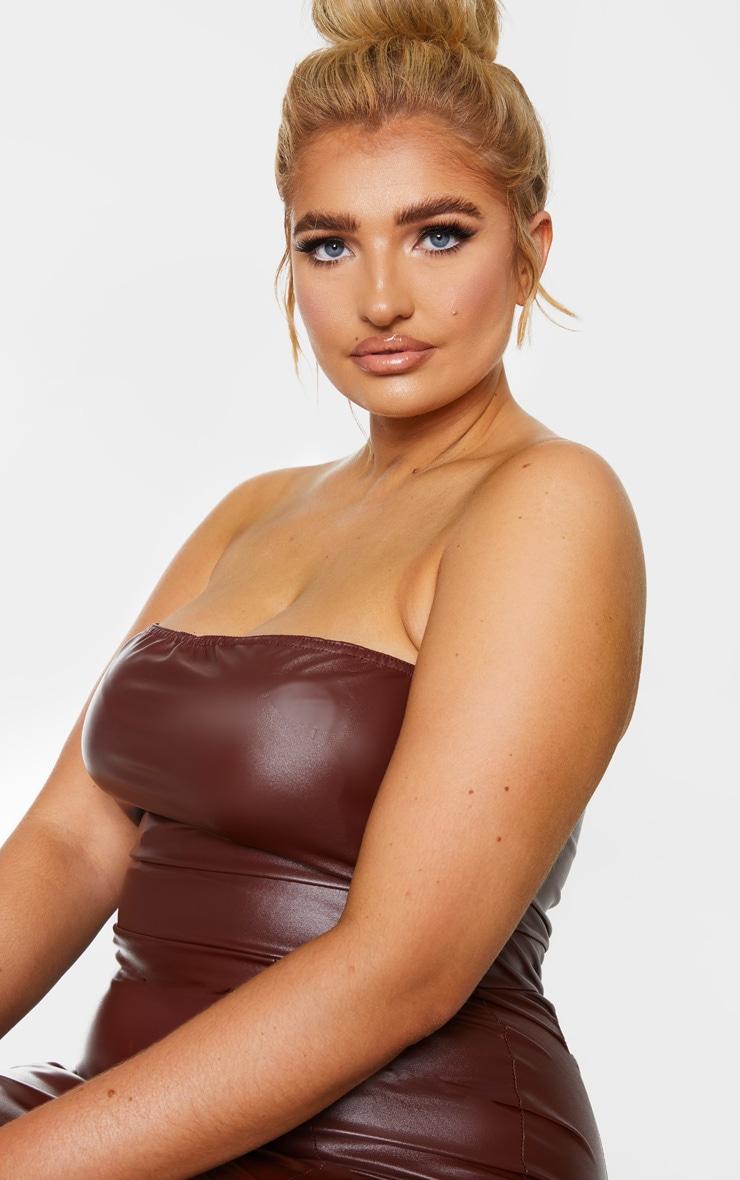 Plus Chocolate Brown PU Seam Detail Bandeau Bodycon Dress 4