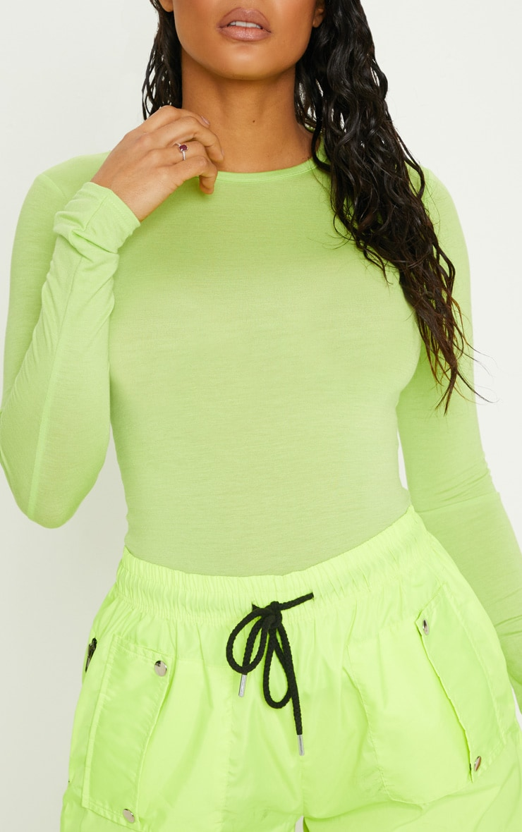 Basic Neon Lime Long Sleeve Fitted T Shirt 5