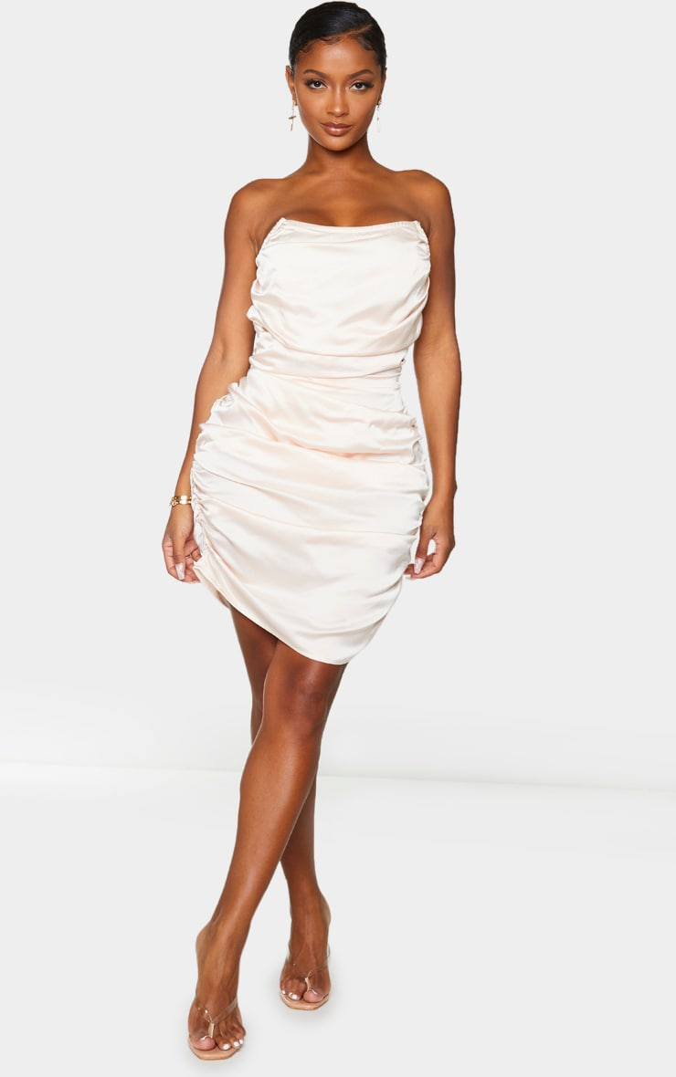 Shape Champagne Satin Ruched Bandeau Bodycon Dress 3