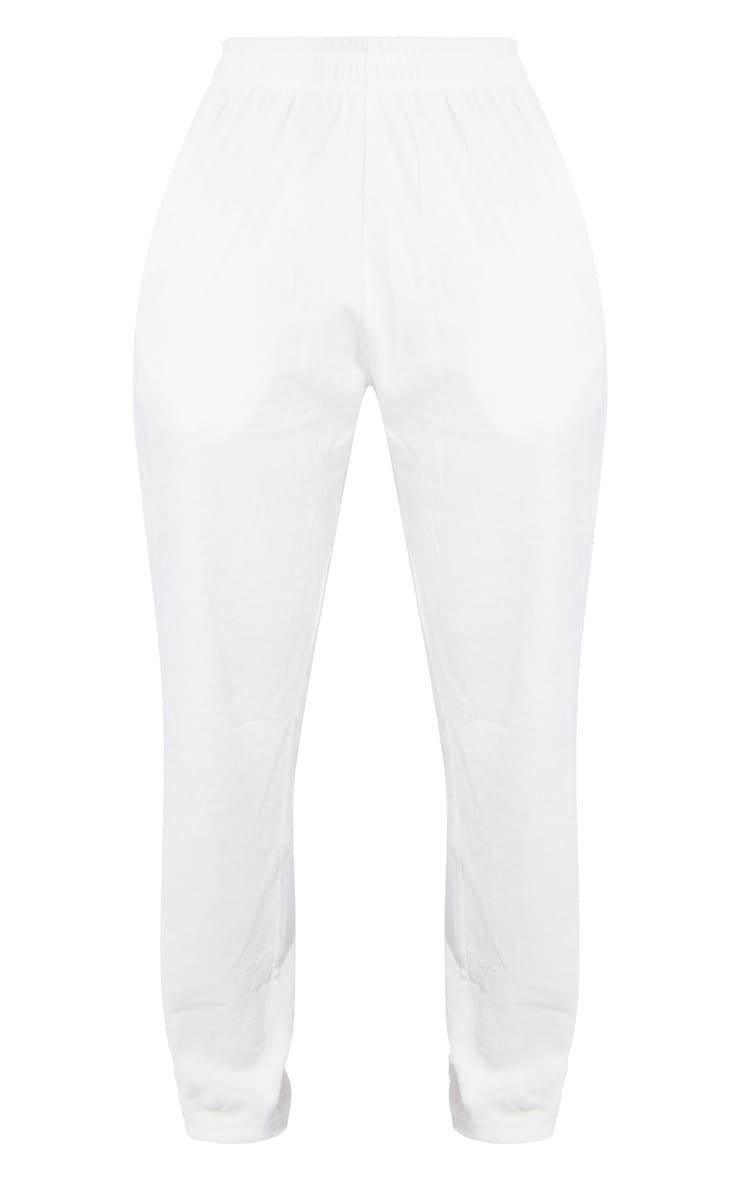 PRETTYLITTLETHING Shape Cream Diamante Velour Wide Leg Jogger 5