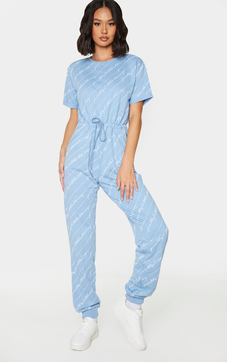 PRETTYLITTLETHING Blue Short Sleeve Sweat Jumpsuit 3