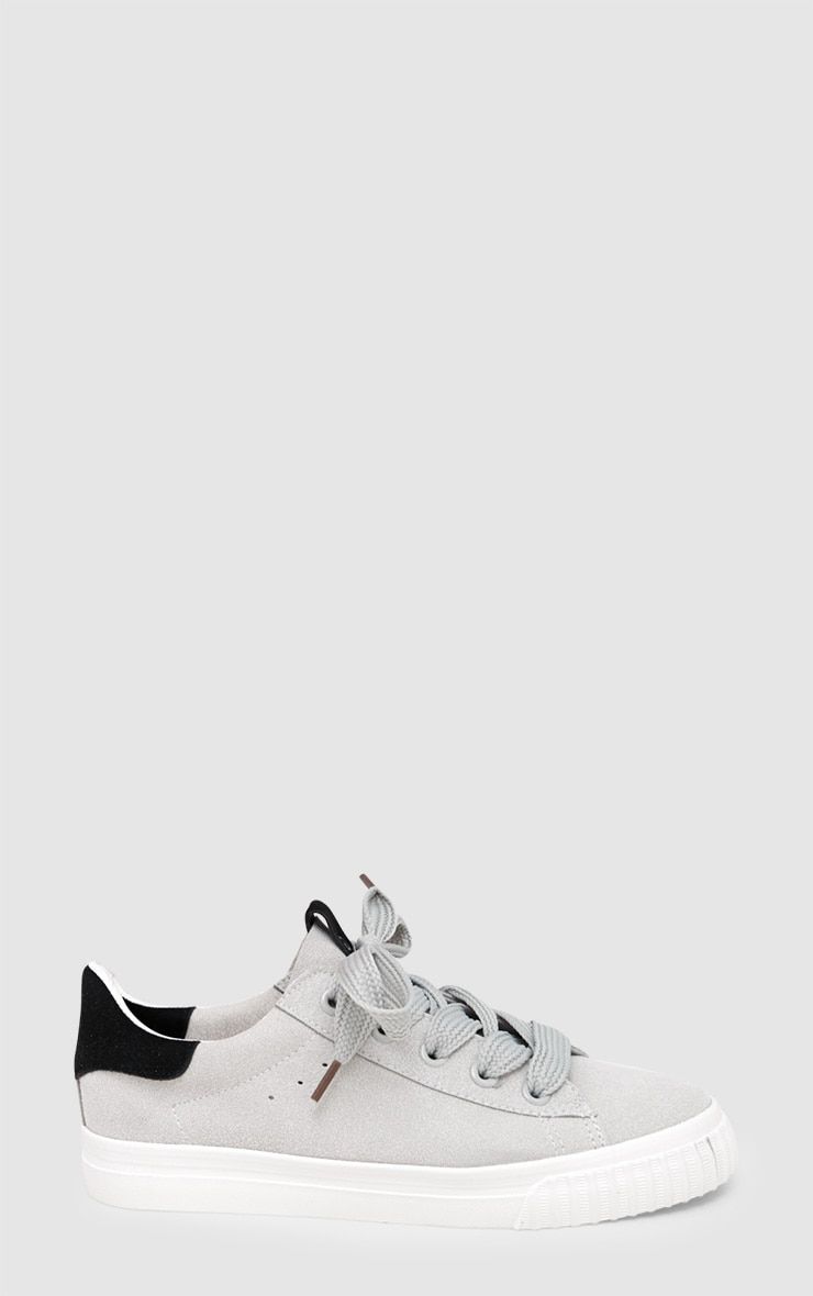 Grey Suedette Lace Up Trainer 3