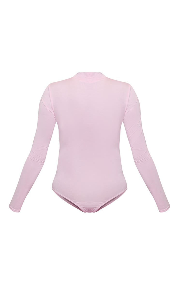 GRL PWR High Neck Long Sleeve Bodysuit Baby Pink 4