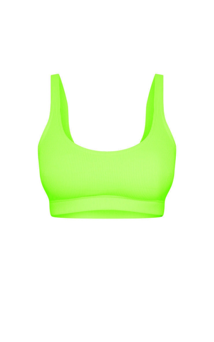 Lime Mix & Match Fuller Bust Ribbed Elasticated Scoop Bikini Top 3