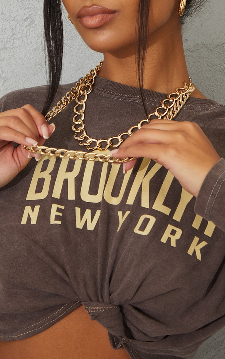 Gold Double Layered Chunky Chain Necklace 2