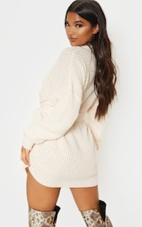 Cream Soft Touch Belted Knitted Sweater Dress 2