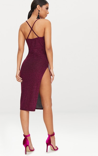 Fuchsia Glitter Strappy Plunge Extreme Split Midi Dress